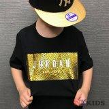 【JORDAN】ロング丈 メタリックプリントTシャツ (128-170cm) BK