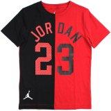 【JORDAN】2トーン切返し アーチロゴ#23 Tシャツ (128-170cm) RD/BK
