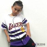 【UNK】ロサンゼルス・レイカーズ  ゲームシャツ (130-160cm) WH/PUR