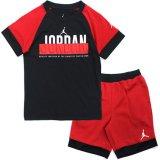 【JORDAN】 JORDAN凹凸ロゴ Tシャツ上下2点セット  (96-122cm) RD/BK