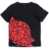 【JORDAN】メッシュ柄 BIGウィングス Tシャツ (96-122cm) BK/RD