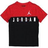 【JORDAN】切返しコンクリート柄&ロゴ Tシャツ (128-170cm) RD/BK