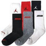 【JORDAN】 靴下6足セット (約13-22cm) BK/WH/RD/GY