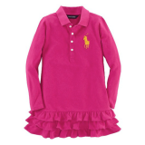 <img class='new_mark_img1' src='//img.shop-pro.jp/img/new/icons24.gif' style='border:none;display:inline;margin:0px;padding:0px;width:auto;' />30%OFF【RALPH LAUREN】ビッグポニー長袖ラッフルワンピース(110-130cm) PK
