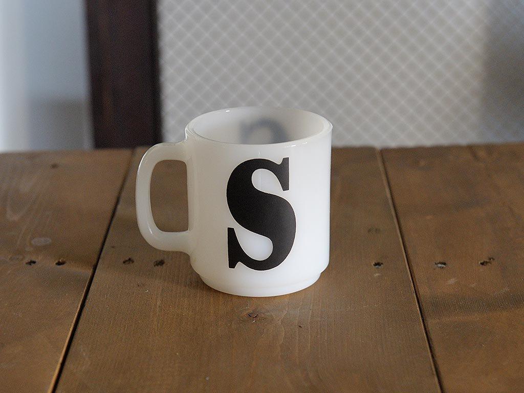 アメリカビンテージ Glasbake  S  ロゴ マグカップ