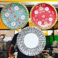 中国柄紙皿3色×2(6枚入り)