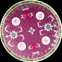 中国柄紙皿レッド(5枚入り)
