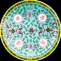 中国柄紙皿ブルー(5枚入り)