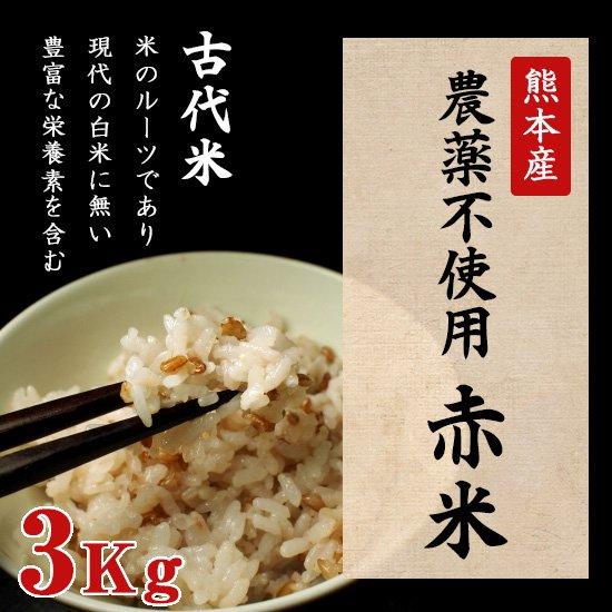 熊本産農薬不使用赤米3キロ
