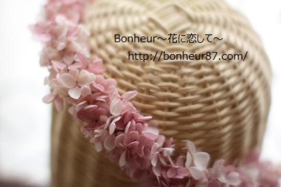 花冠/ピンク&ホワイトマーブル/アジサイ/ヘッドドレス/花冠/白いリボン/結婚式