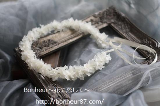 プリザーブドフラワー/アジサイ/ヘッドドレス/花冠(長め)/白いリボン/ウェディング/ナチュラル