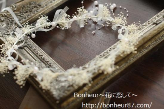清楚な花冠/カスミソウ/パール/ヘッドドレス/花冠/白いリボン/ウェディング/レストランウェディング