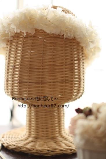 花冠(長め/プリザーブドフラワー/アジサイ/ヘッドドレス//白いリボン/ウェディング/ナチュラル