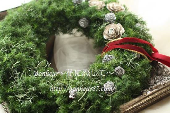 生花本格的なクリスマスリース35cm/ブライダル/ウェルカムリース/花束贈呈/