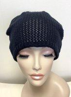 リバーシブル仕上げで肌当たり柔らか。締め付けない綿の帽子。がら編みリバーシブルワッチ【男女OK】