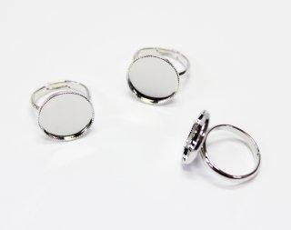 15mm 丸皿 甲丸リング (3ヶ入) ロジウム【ネコポス可】