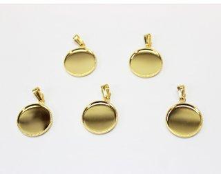 ペンダント 15mm丸皿 (5ヶ入) ゴールド【ネコポス可】
