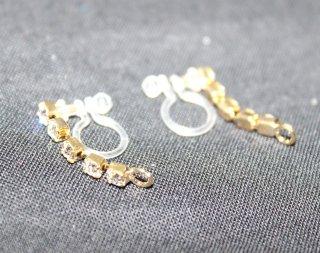 樹脂オメガピアス 連爪5コマ カン付 (1P入) ゴールド【ネコポス可】