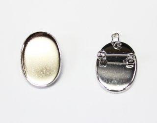 ペンダントブローチ 皿 18×25mm (5ヶ入) ロジウム【ネコポス可】