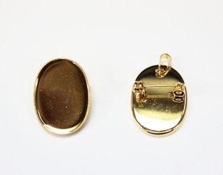 ペンダントブローチ 皿 18×25mm (5ヶ入) ゴールド【ネコポス可】