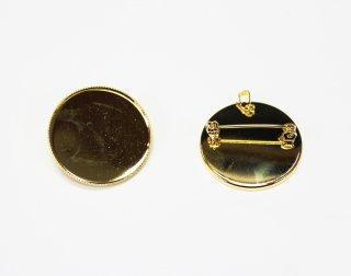 B0030<br/>ペンダントブローチ 皿<br/> 30mm (5ヶ入) ゴールド【ネコポス可】