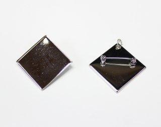 ペンダントブローチ 角皿 30mm (5ヶ入) ロジウム【ネコポス可】