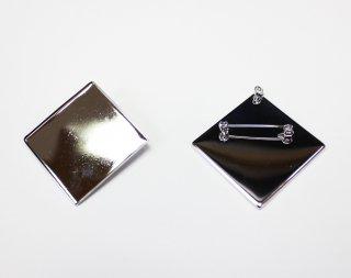 ペンダントブローチ 角皿 40mm (5ヶ入) ロジウム【ネコポス可】