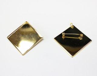 ペンダントブローチ 角皿 40mm (5ヶ入) ゴールド【ネコポス可】