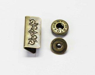 M192<br />飾りホック 唐草 アンティークゴールド