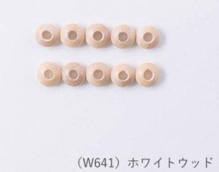 W641<br/>ナチュラルウッドビーズ<br/>ディスク10×4mm ホワイトウッド【ネコポス可】