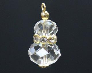 瓢箪型ガラスパーツ クリスタル/ゴールド