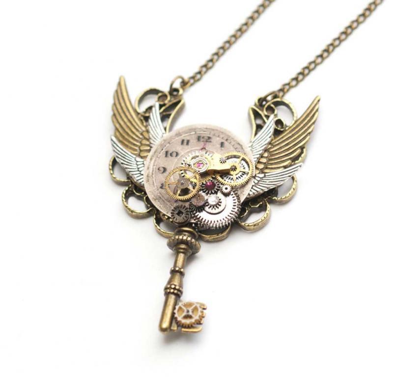金銀6翼×時計ギミック スチームパンク 鍵ネックレス , ロイヤルパープル , スチームパンク雑貨店 SteamCottage