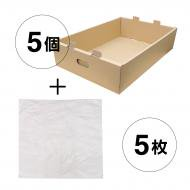 e(イー)ダンボールばんじゅう【M深】:本体5個+専用内袋5枚セット