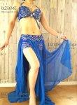 【30%オフ】美しくボディーラインを飾る♪エジプシャン本格派♪オリエンタル衣装_ブラ&ベルト/ラッフルスカートセット(ブルー)