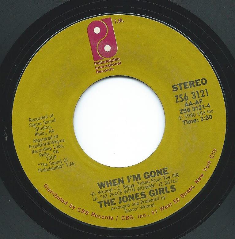 THE JONES GIRLS / I JUST LOVE THE MAN / WHEN I'M GONE (7