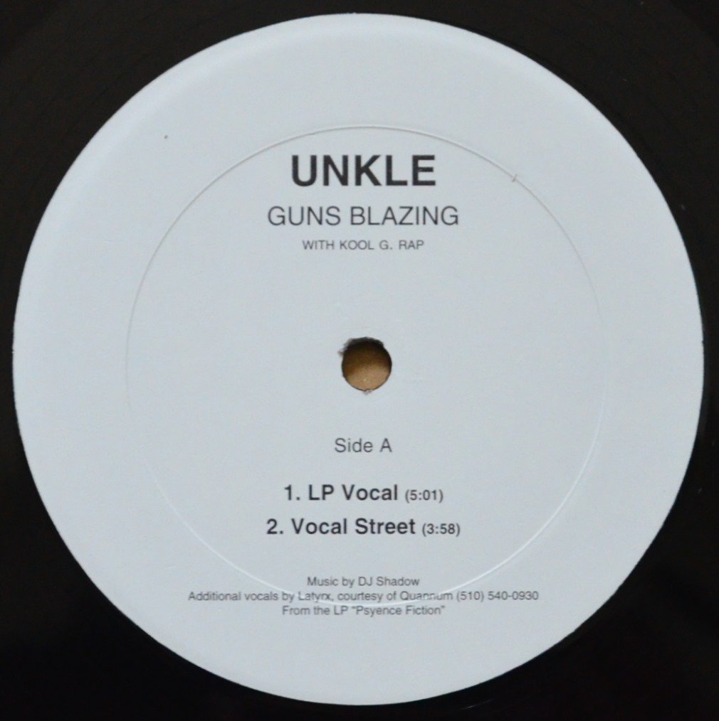 UNKLE WITH KOOL G. RAP / GUNS BLAZING (PROD BY DJ SHADOW) (12