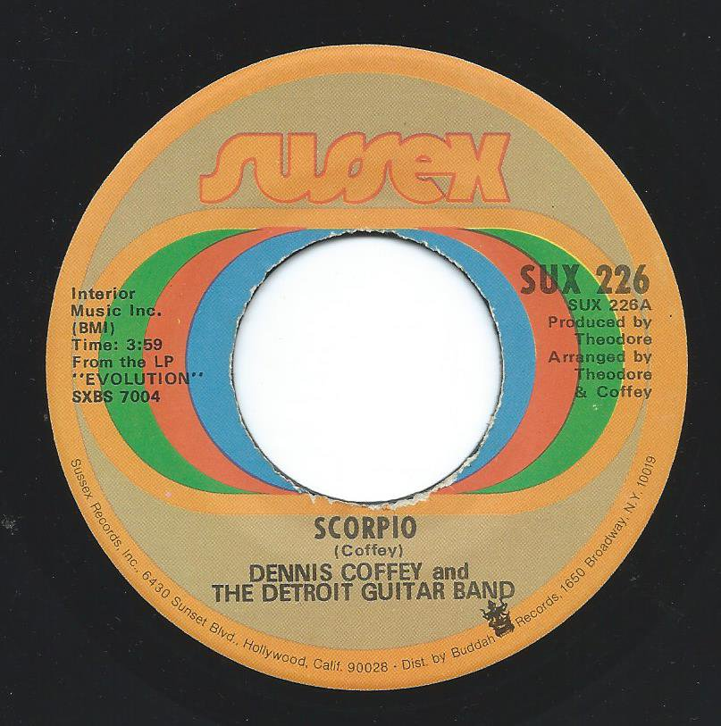 DENNIS COFFEY AND THE DETROIT GUITAR BAND ‎/ SCORPIO / SAD ANGEL (7