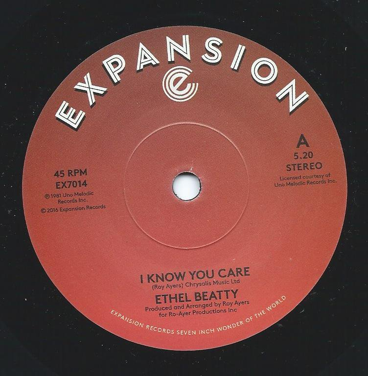 ETHEL BEATTY ‎/ I KNOW YOU CARE / IT'S YOUR LOVE (7