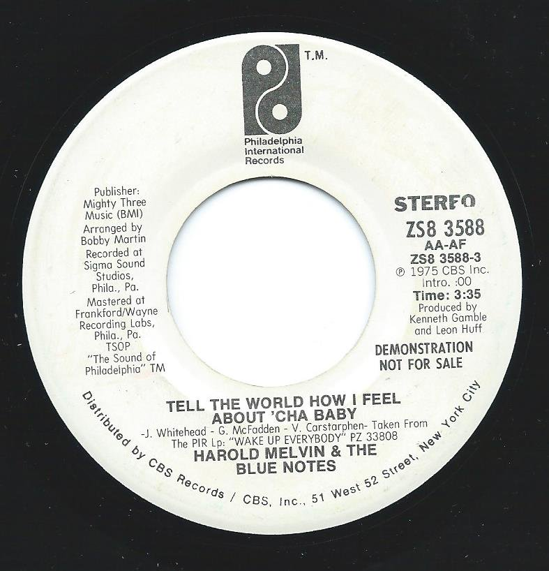 HAROLD MELVIN & THE BLUE NOTES / TELL THE WORLD HOW I FEEL ABOUT 'CHA BABY (7