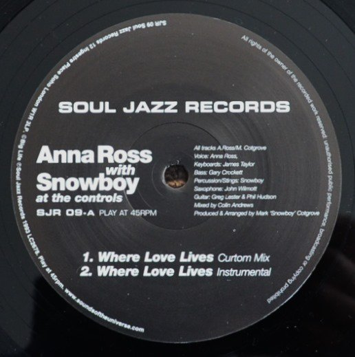 ANNA ROSS WITH SNOWBOY ‎/ WHERE LOVE LIVES (12