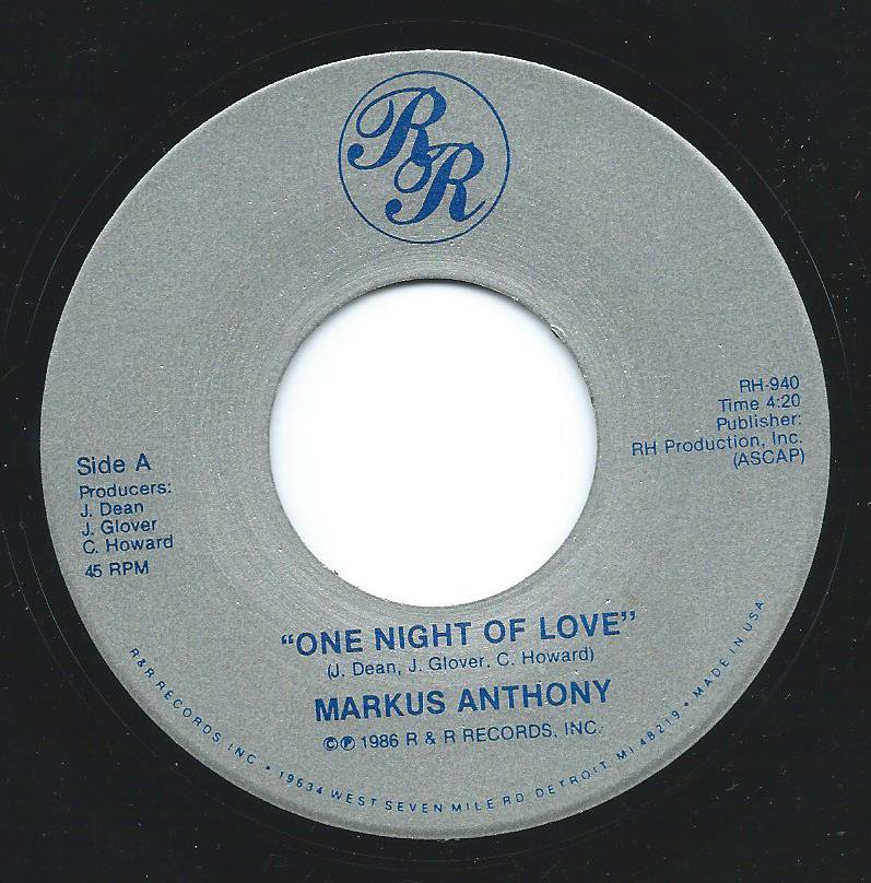 MARKUS ANTHONY / ONE NIGHT OF LOVE / CALL ME (7