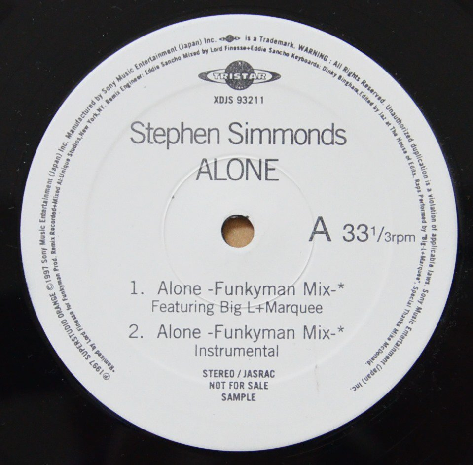 STEPHEN SIMMONDS FEAT. BIGL,MARQUEE / ALONE-LORD FINESSE FUNKYMAN REMIX (12