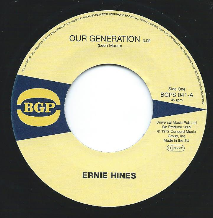 ERNIE HINES / THE BLACKBYRDS ‎/ OUR GENERATION / ROCK CREEK PARK (7