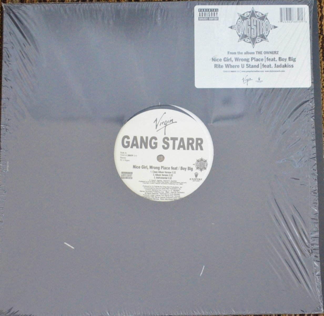 GANG STARR ‎/ NICE GIRL, WRONG PLACE / RITE WHERE U STAND (12