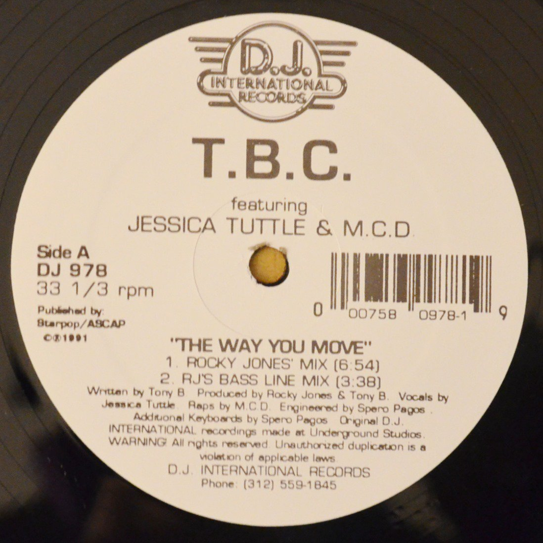 T.B.C. FEATURING JESSICA TUTTLE & M.C.D. / THE WAY YOU MOVE (12