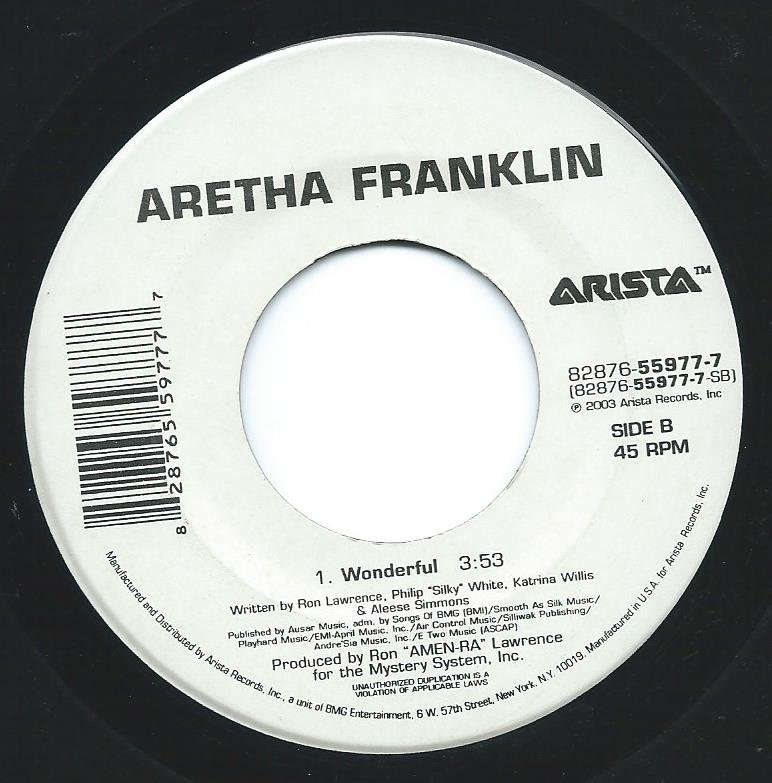 ARETHA FRANKLIN / WONDERFUL / THE ONLY THING MISSIN' (7