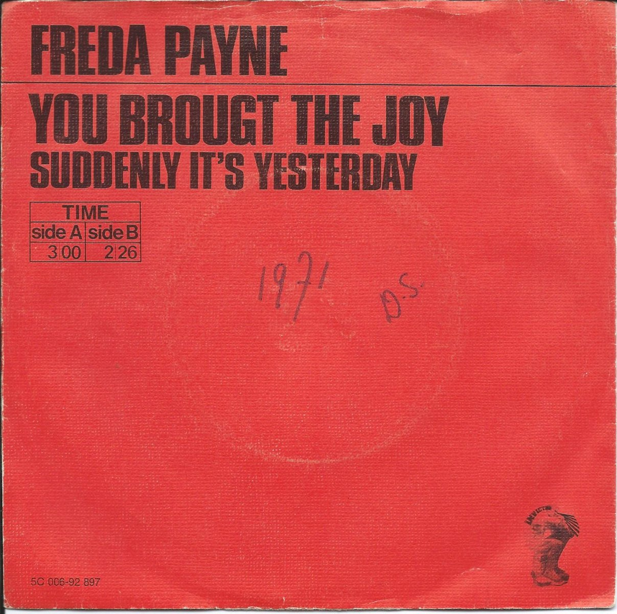 FREDA PAYNE ‎/ YOU BROUGHT THE JOY / SUDDENLY IT'S YESTERDAY (7