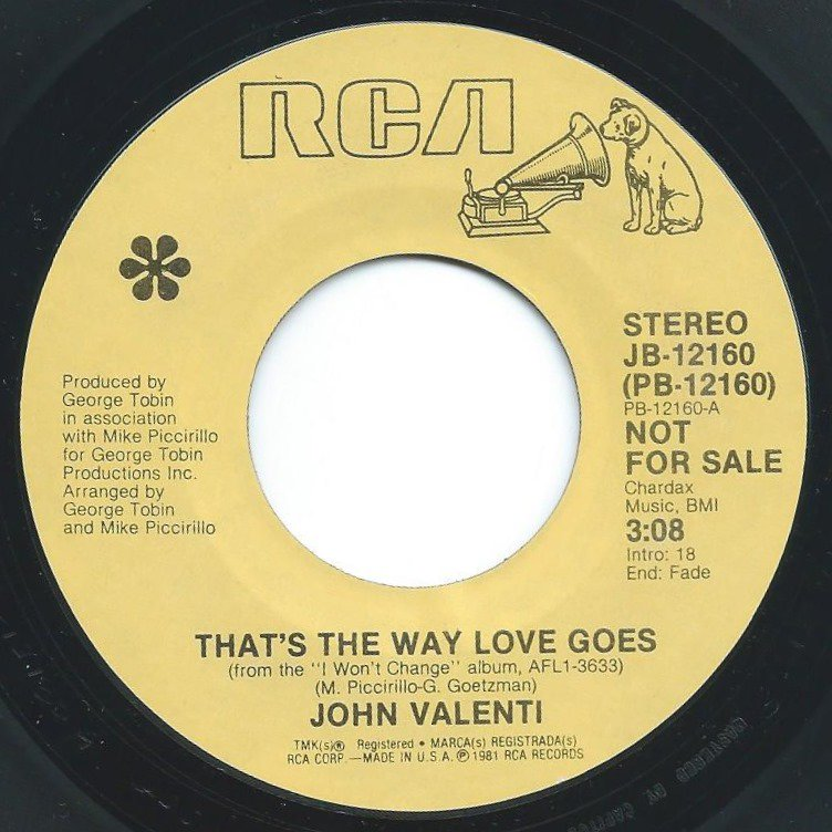 JOHN VALENTI / THAT'S THE WAY LOVE GOES / WHO WILL IT BE (7