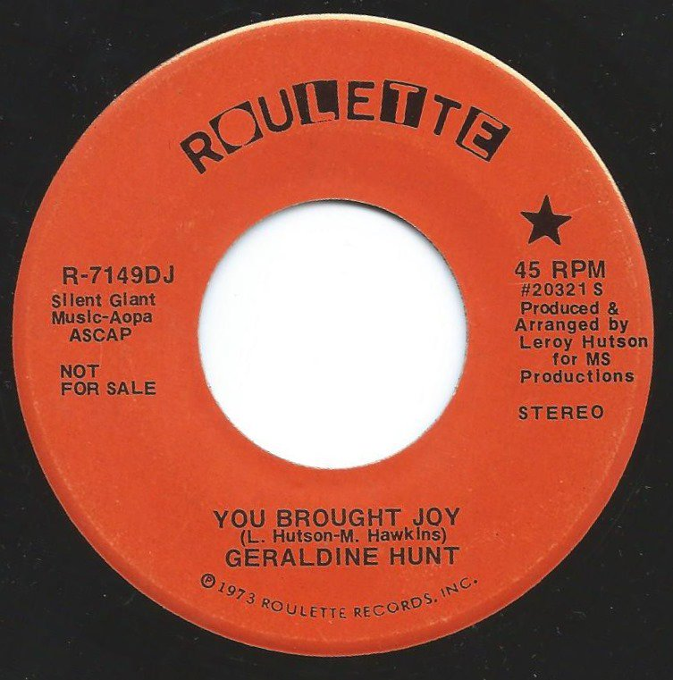 GERALDINE HUNT ‎/ YOU BROUGHT JOY (7