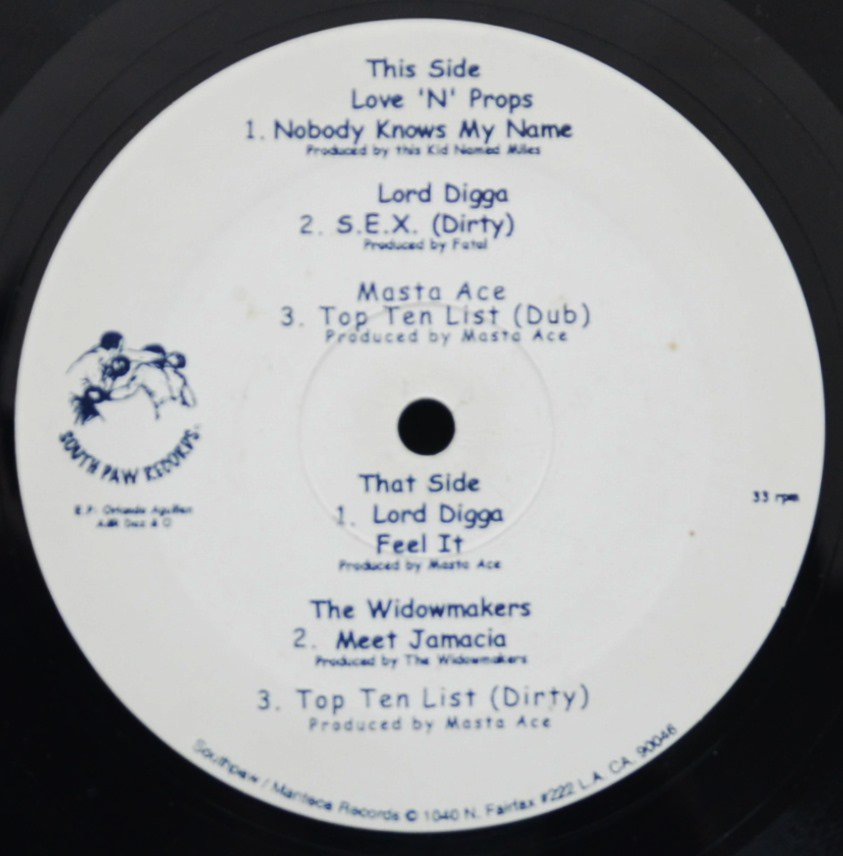 V.A.(MASTA ACE,LORD DIGGA...) ‎/ S.E.X. / TOP TEN LIST / FEEL IT (THE SOUTHPAW EP) (12